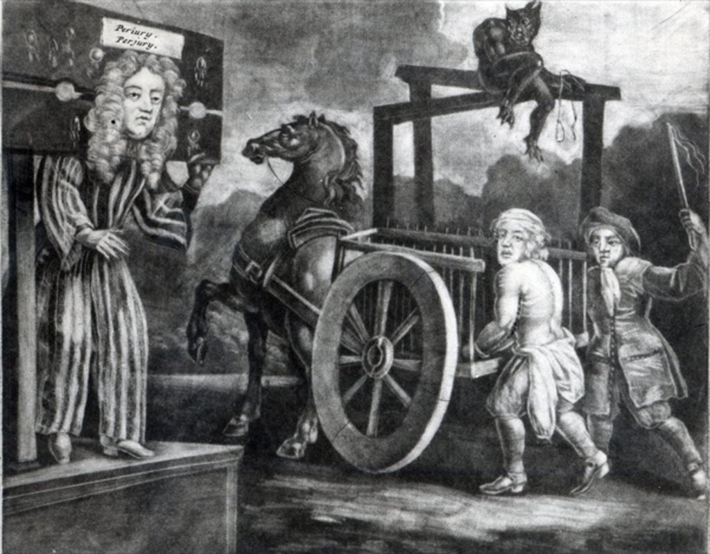 Detail of Titus Oates on the third day of his punishment in 1685, when he was stripped, tied to a cart and whipped from Aldgate to Newgate by English School