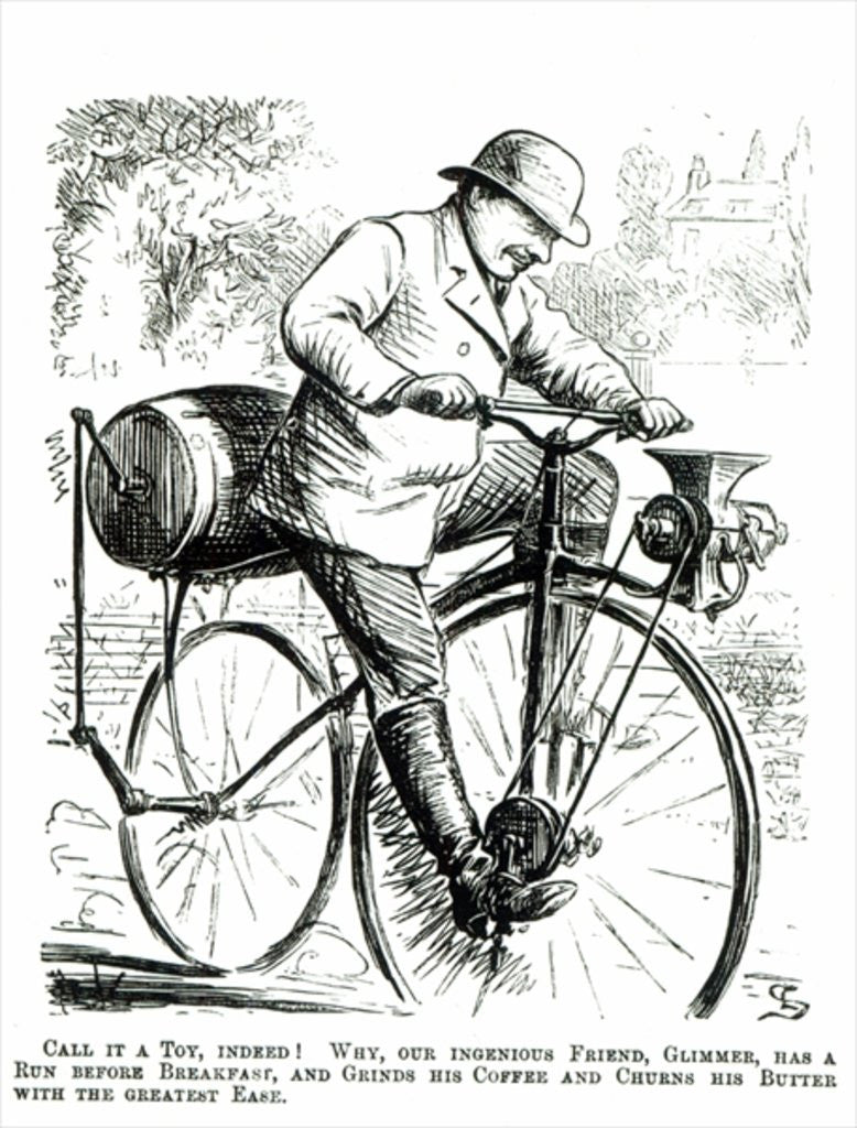 Detail of Cartoon making fun of the early days of Bicycles by English School