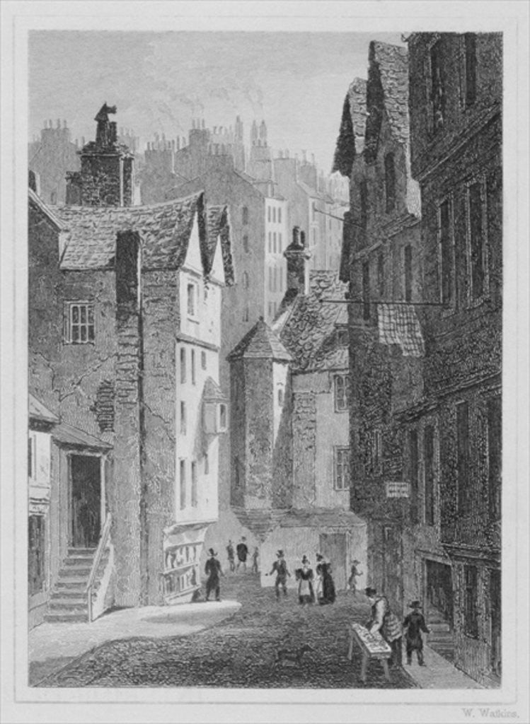 Detail of High School, Wynd, Edinburgh engraved by William Watkins by Thomas Hosmer Shepherd
