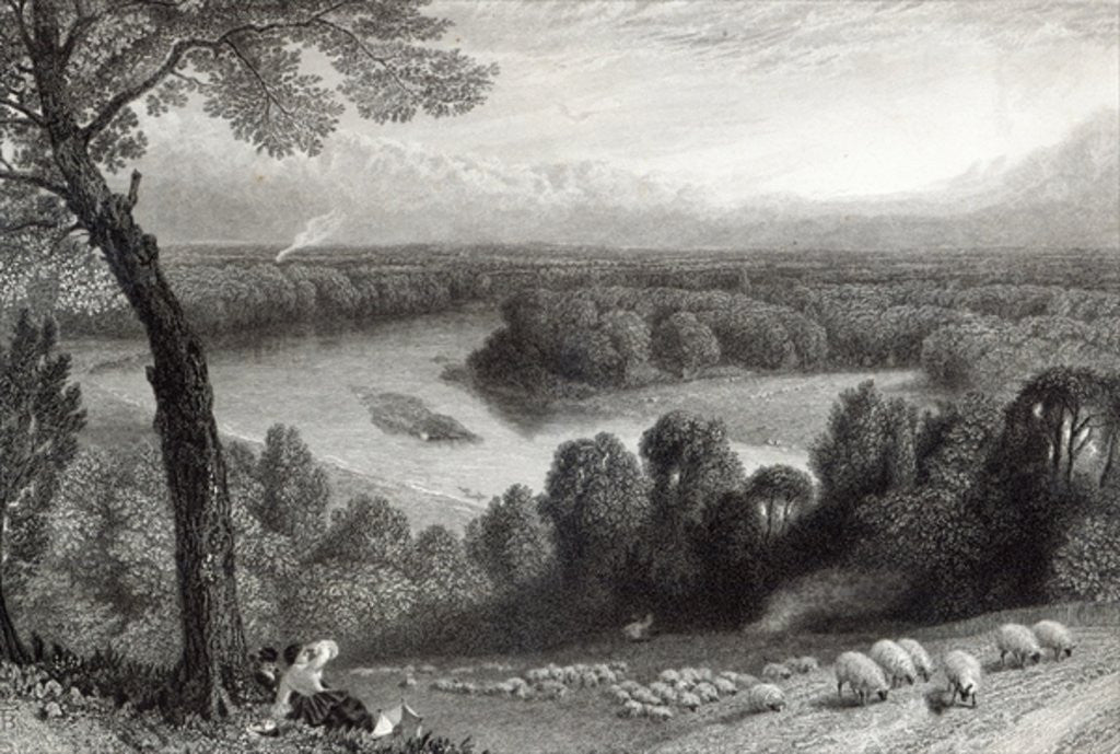 Detail of The Thames from Richmond Hill by Myles Birket Foster