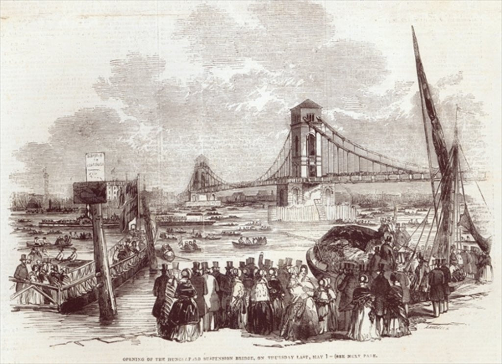 Detail of Opening of the Hungerford Suspension Bridge by English School