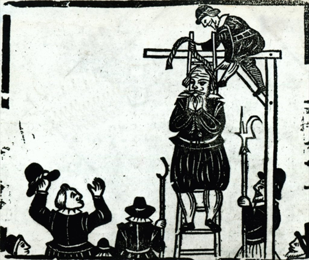 Detail of Scaffold with a man about to be hanged by English School