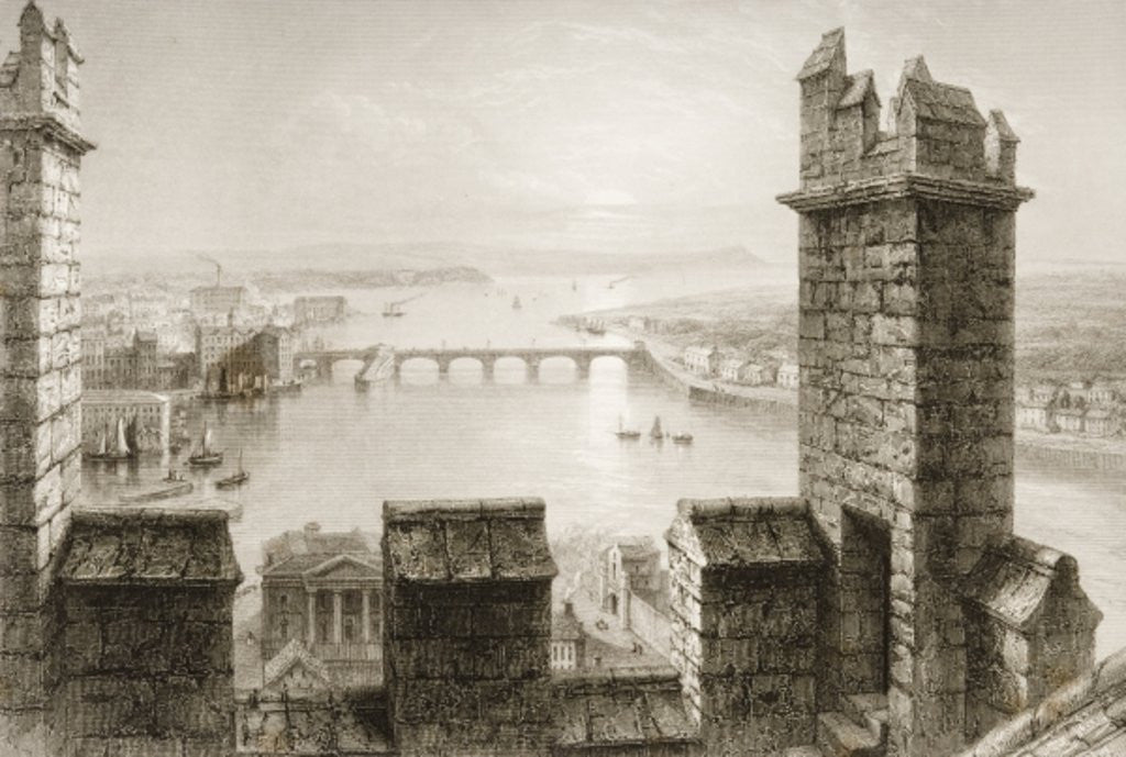 Detail of The River Shannon and Limerick from the Cathedral Tower, County Limerick by William Henry Bartlett