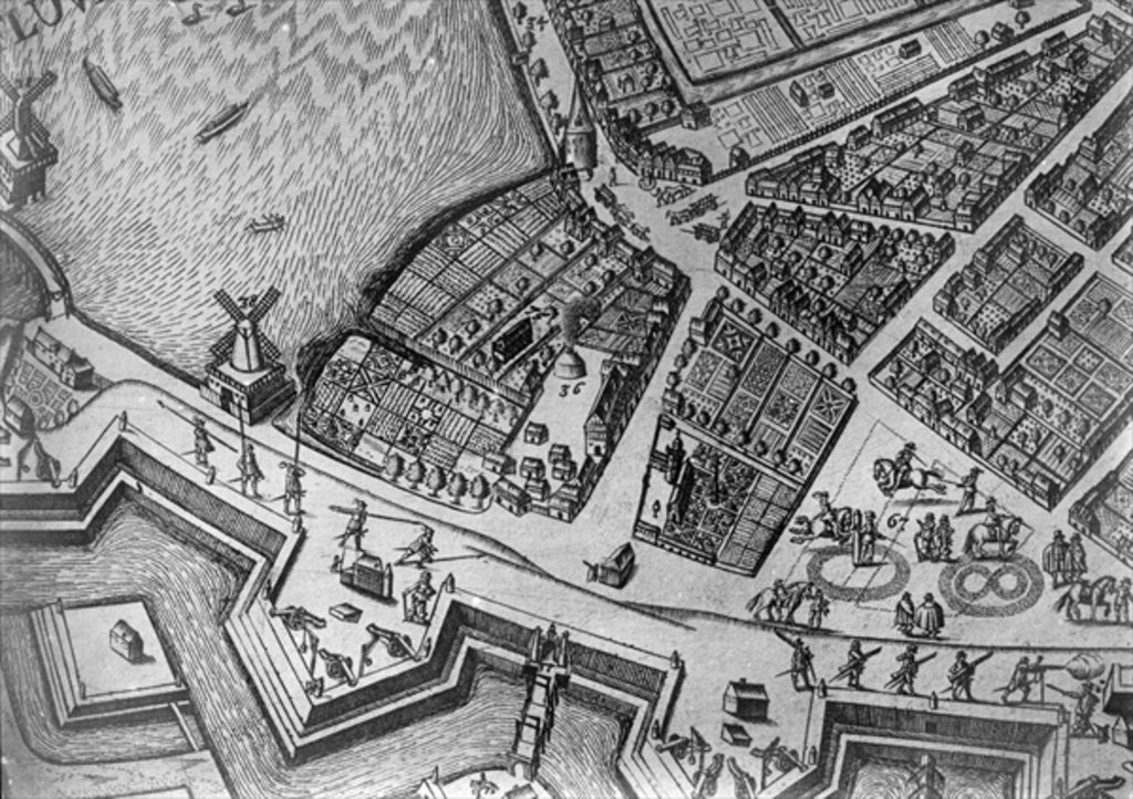 Detail of Map of Hamburg showing its first Opera House by German School