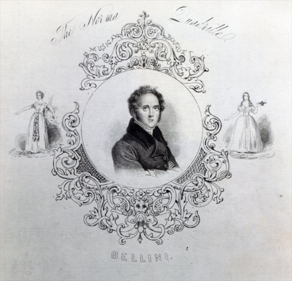 Detail of Cover of Sheet Music for a Quadrille, with a portrait of Vincenzo Bellini by English School