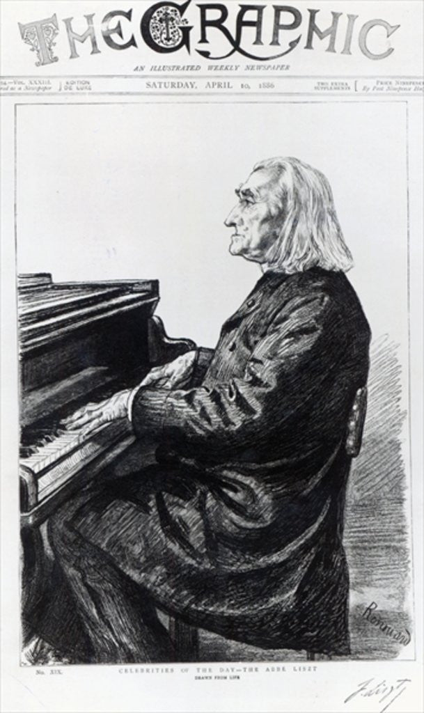 Detail of Franz Liszt, cover of 'The Graphic' by Charles Paul Renouard