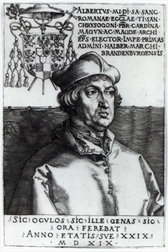 Detail of Albrecht of Brandenburg by Albrecht Dürer or Duerer