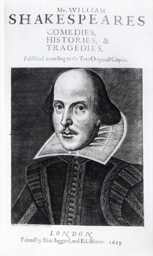 Titlepage of 'Mr. William Shakespeares Comedies, Histories and Tradgedies'