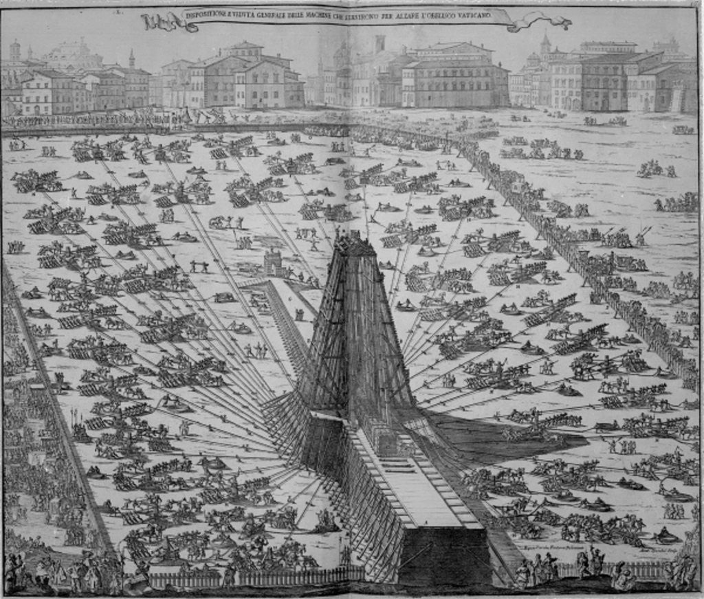 Detail of Erecting the Ancient Egyptian Obelisk in St. Peter's Square, Rome by Italian School