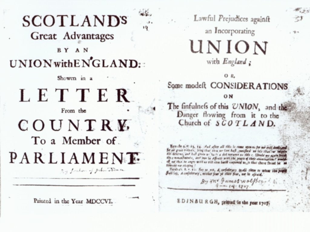 Detail of Pamphlets showing both sides of the Anglo-Scottish union debate by English School