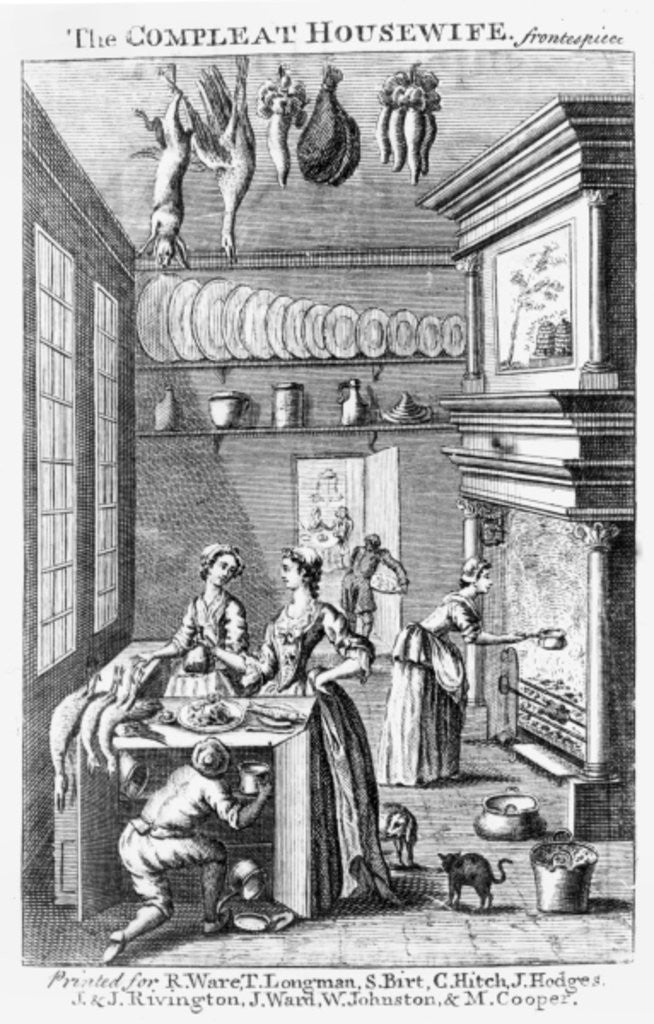 Detail of Frontispiece of 'The Compleat Housewife' by English School