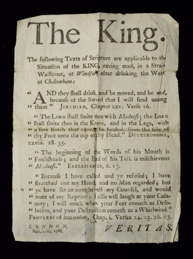 Detail of Broadsheet discussing the Madness of King George III by English School