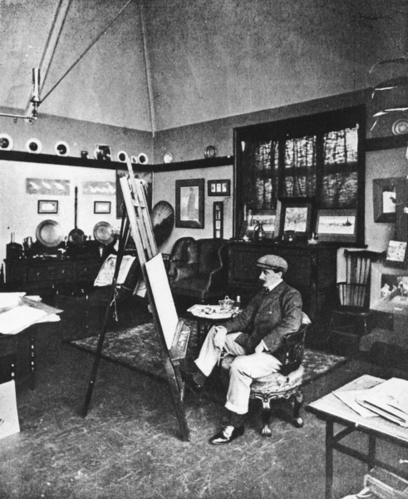 Detail of Cecil Aldin in his studio by English Photographer