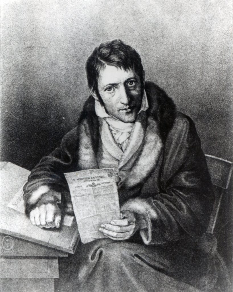 Detail of Charles-Joseph Panckoucke holding a copy of 'Le Moniteur Universel' by French School