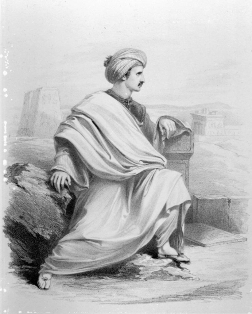 Detail of Edward William Lane as 'A Bedouin Arab' by Richard James Lane