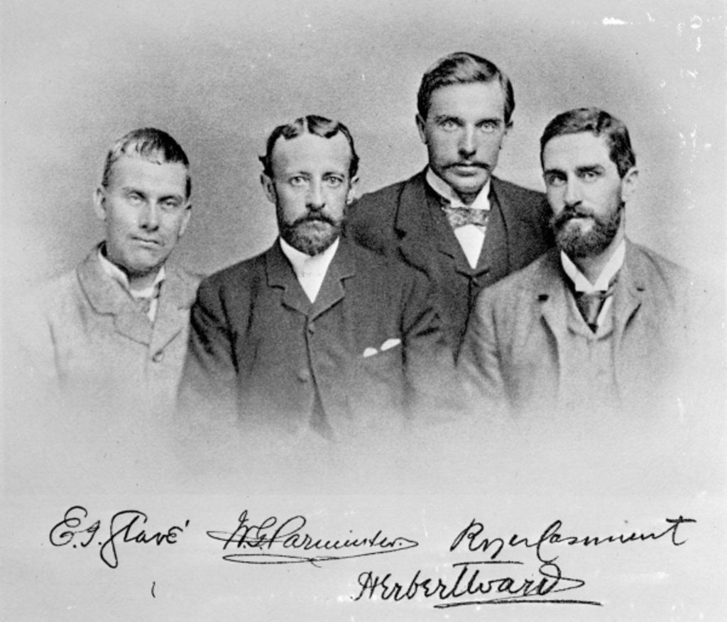 Detail of E.J. Glave, W.G. Parminter, Herbert Ward and Roger Casement by English Photographer