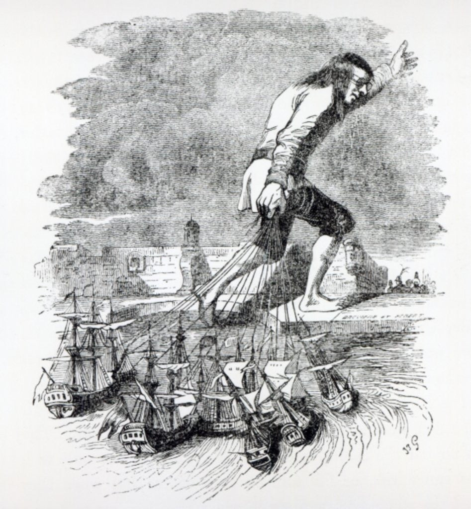 Detail of Gulliver stealing the Blefuscudian fleet by Grandville