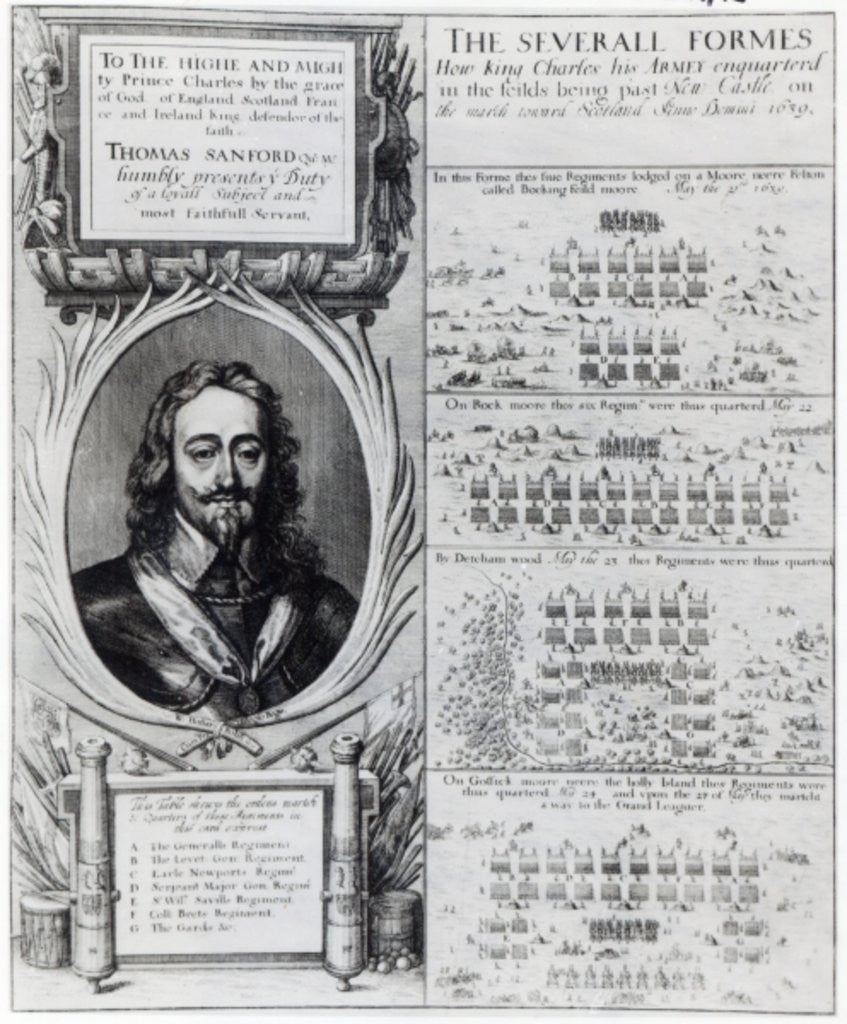 Detail of Portrait of King Charles I with diagrams showing the formation of his troops during the Bishops' War by Wenceslaus Hollar