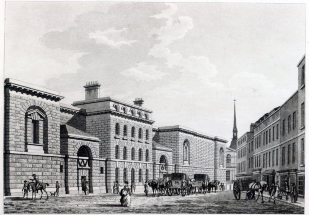 Detail of Newgate prison by Thomas Malton Jnr.