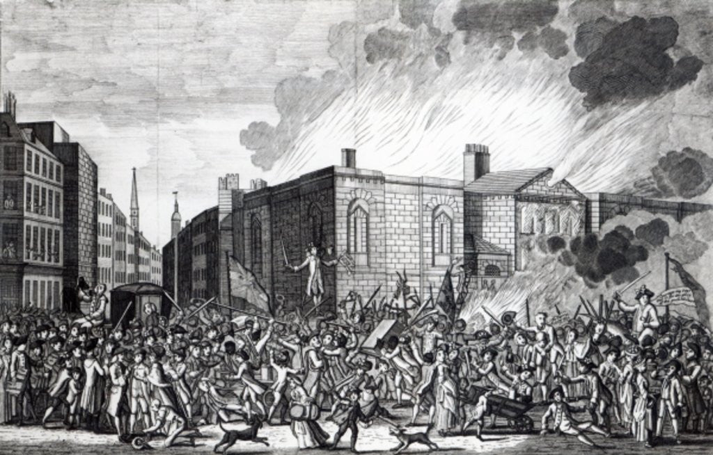 Detail of An exact representation of the Burning, Plundering and Destruction of Newgate by the Rioters on the memorable 7th June 1780 by Jefferyes Hamett O'Neale