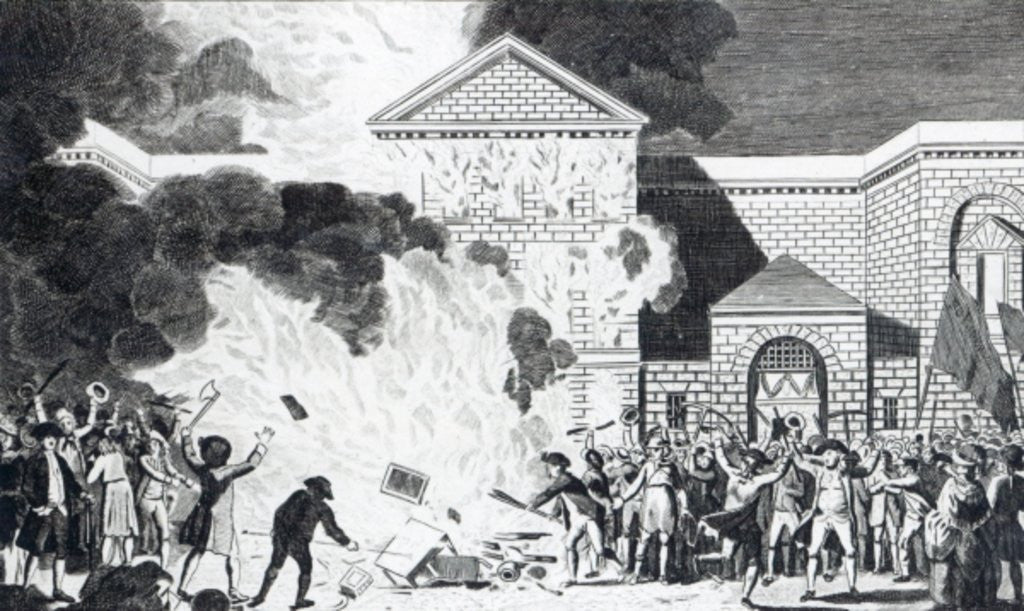 Detail of The Devastations occasioned by the Rioters of London firing the New Gaol of Newgate and burning Mr. Akerman's Furniture by William Hamilton