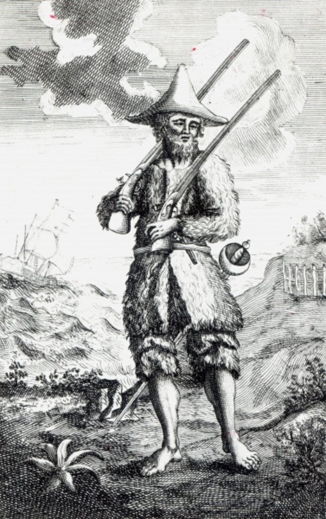 Detail of Frontispiece to 'The Life and Strange Surprizing Adventures of Robinson Crusoe of York, Mariner' by Daniel Defoe by English School