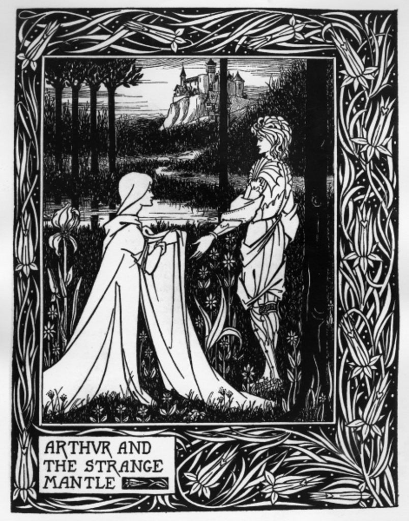 Detail of Arthur and the strange mantle, an illustration from 'Le Morte d'Arthur' by Sir Thomas Malory by Aubrey Beardsley