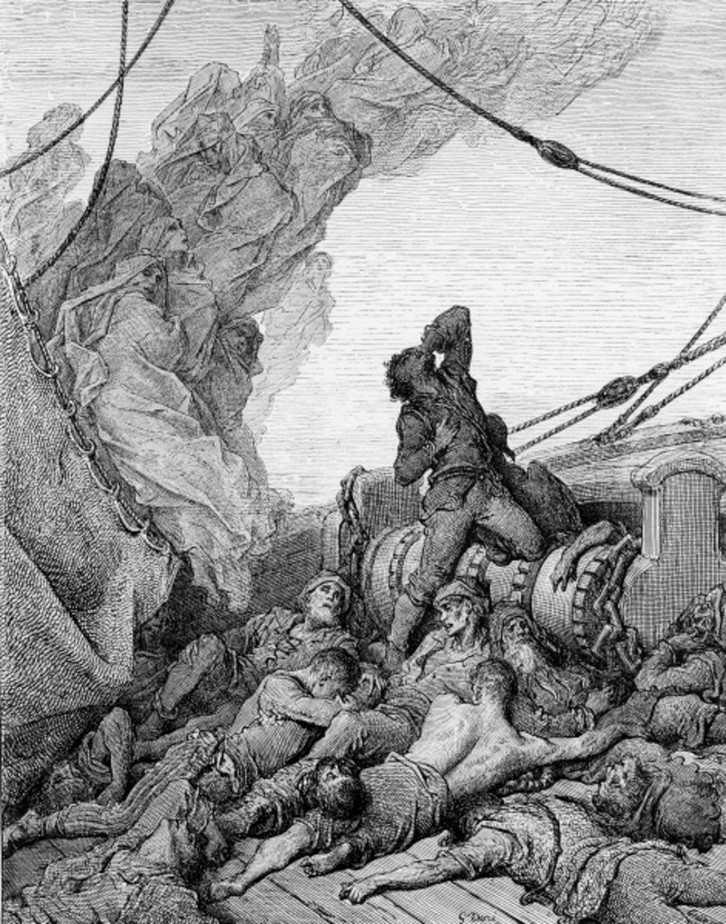 Detail of The Mariner, surrounded by the dead sailors, suffers anguish of spirit by Gustave Dore