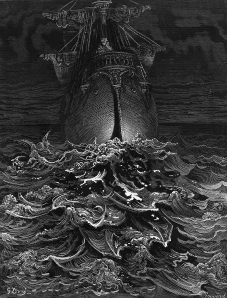 The Mariner gazes on the ocean and laments his survival while all his fellow sailors have died by Gustave Dore