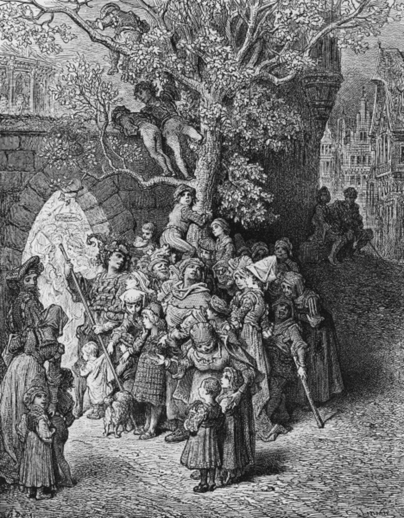 Detail of Crowd of onlookers and spectators at the wedding by Gustave Dore
