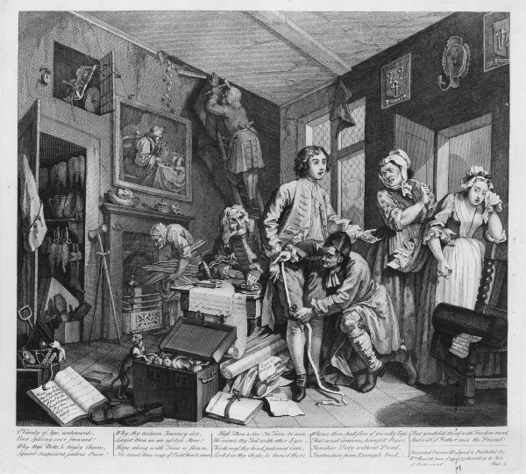 Detail of The Young Heir Takes Possession of the Miser's Effects, plate I from 'A Rake's Progress' by William Hogarth