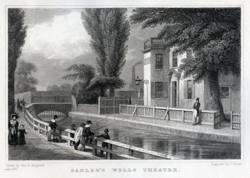 Detail of Sadler's Wells Theatre, engraved by J. Garner by Thomas Hosmer Shepherd
