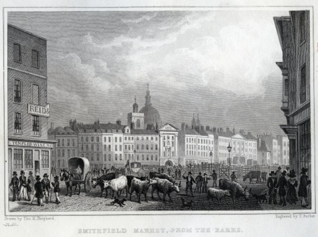 Detail of Smithfield Market from the Barrs, engraved by Thomas Barber by Thomas Hosmer Shepherd