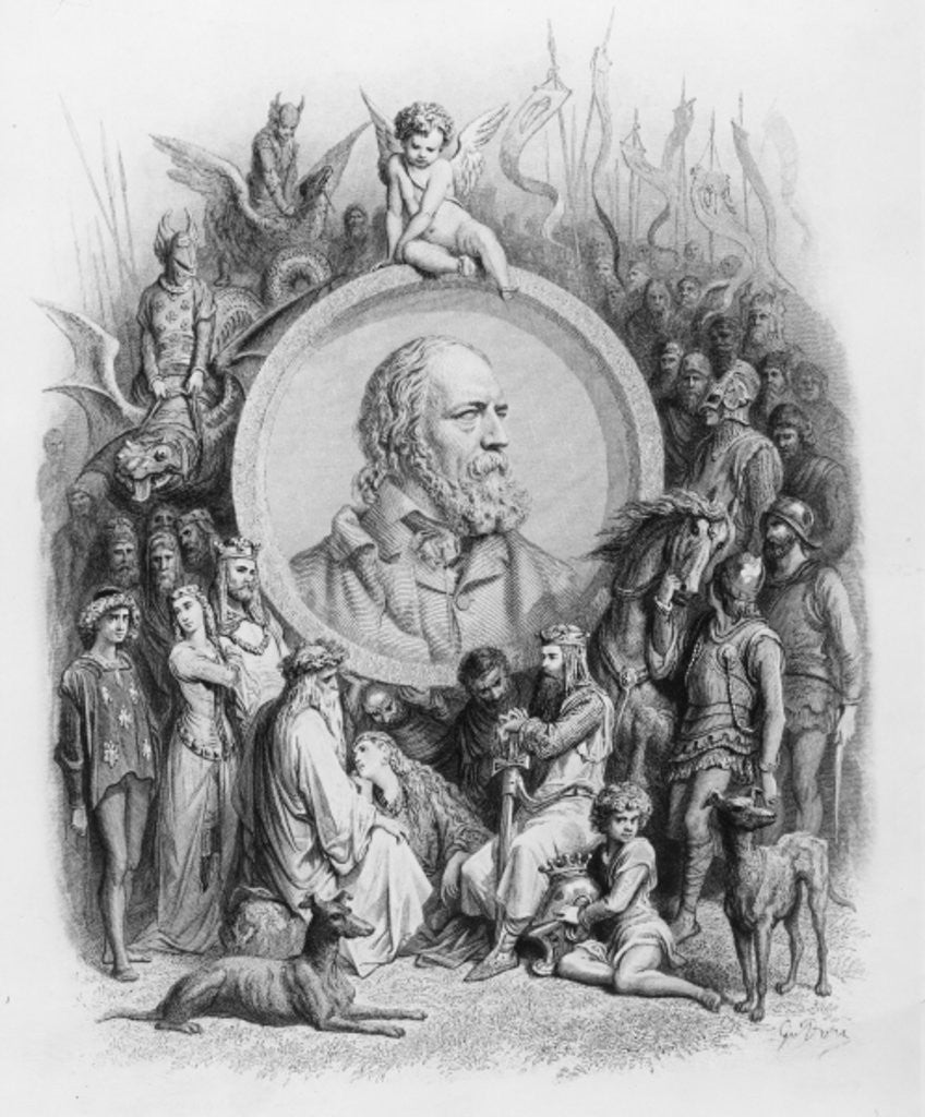 Detail of Frontispiece to 'Idylls of the King' with a portrait of Alfred, Lord Tennyson by Gustave Dore