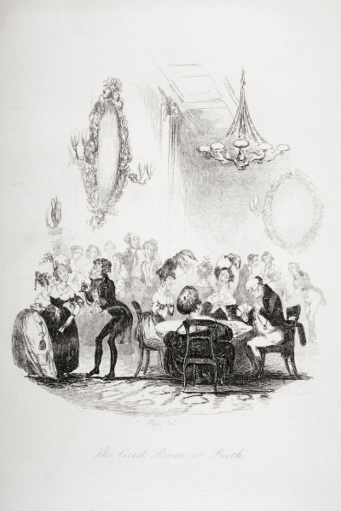 The card room at Bath by Hablot Knight Browne