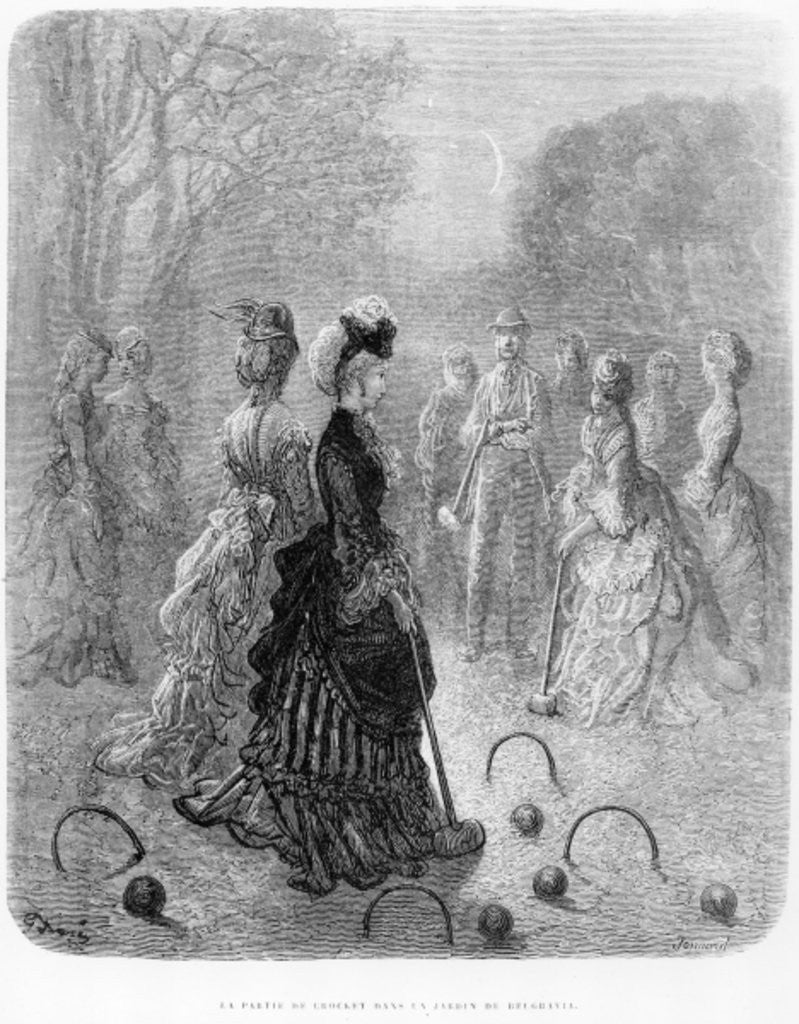 Detail of A Game of Croquet by Gustave Dore