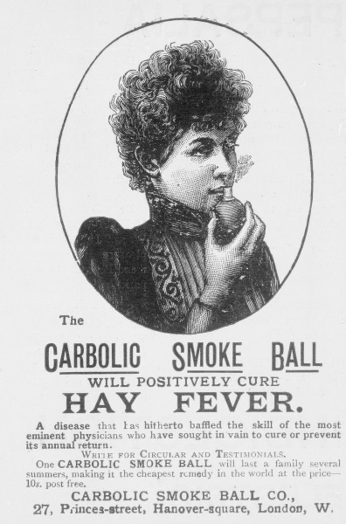 Detail of Advertisement for the Carbolic Smoke Ball, a cure for hay fever by English School