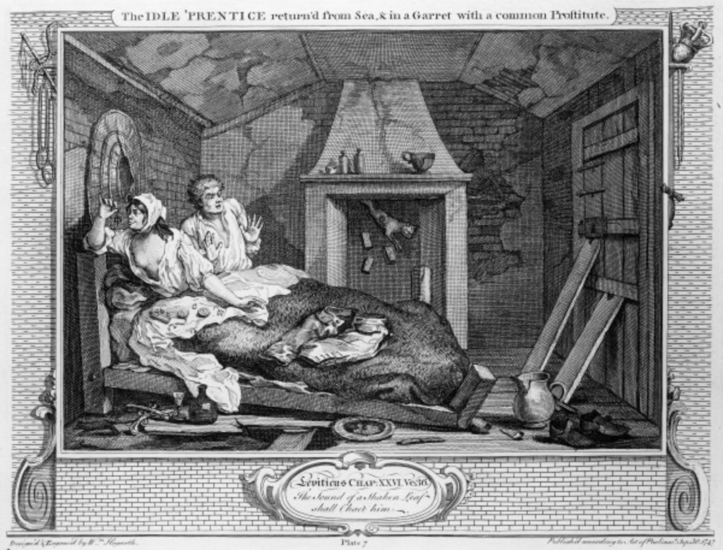 The Idle 'Prentice Returned from Sea, and in a Garret with a common Prostitute' by William Hogarth