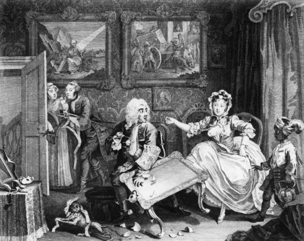 Detail of A Harlot's Progress, plate II, Quarrels with her Jew Protector by William Hogarth