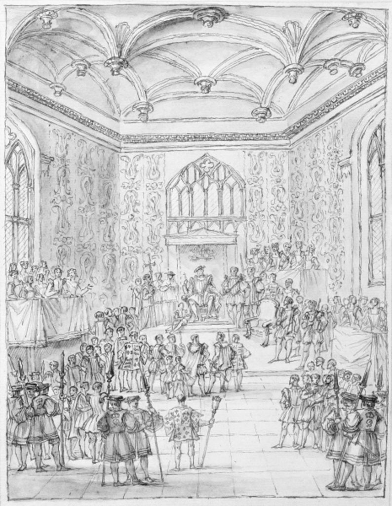 Henry VIII receiving Montmorency, the French Ambassador, at Hampton Court by William Kent