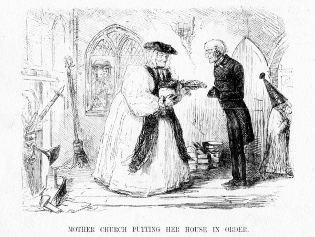 Detail of Mother church putting her house in order, cartoon from 'Punch' by English School