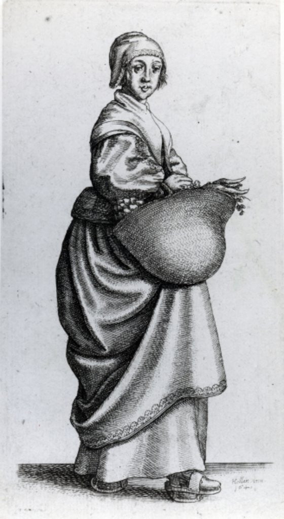 Detail of Maid returning from market by Wenceslaus Hollar
