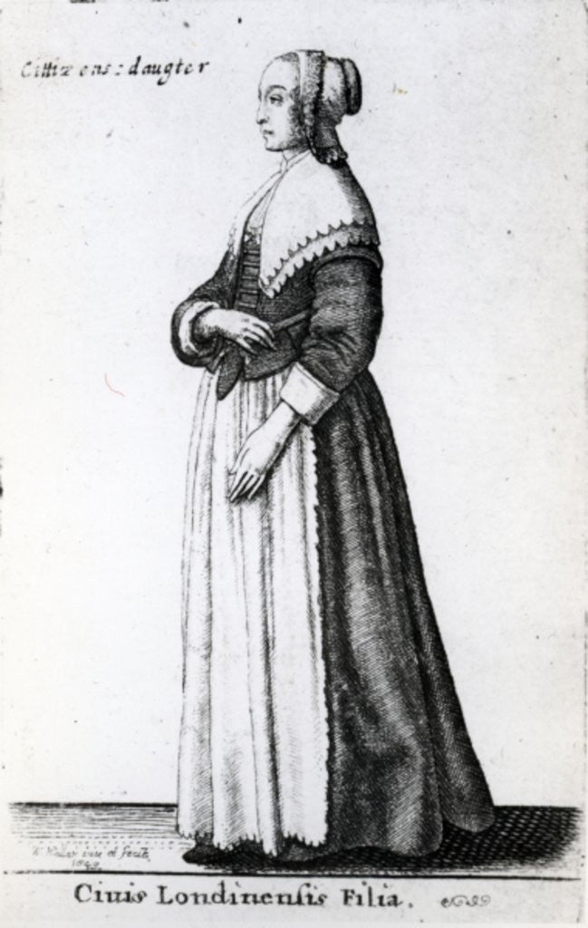 Detail of London Citizen's Daughter by Wenceslaus Hollar