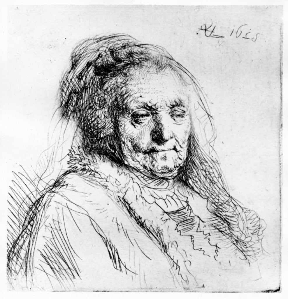 Detail of Portrait of the artist's mother by Rembrandt Harmensz. van Rijn