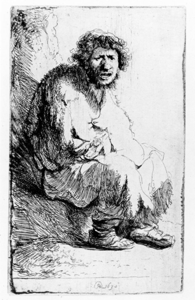 Detail of Beggar seated on a bank by Rembrandt Harmensz. van Rijn
