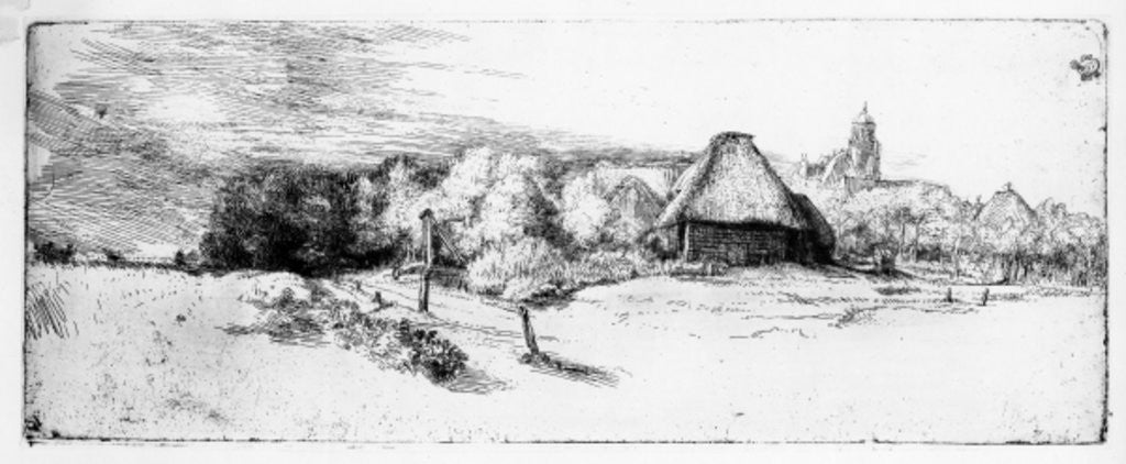 Detail of Landscape with a tower by Rembrandt Harmensz. van Rijn