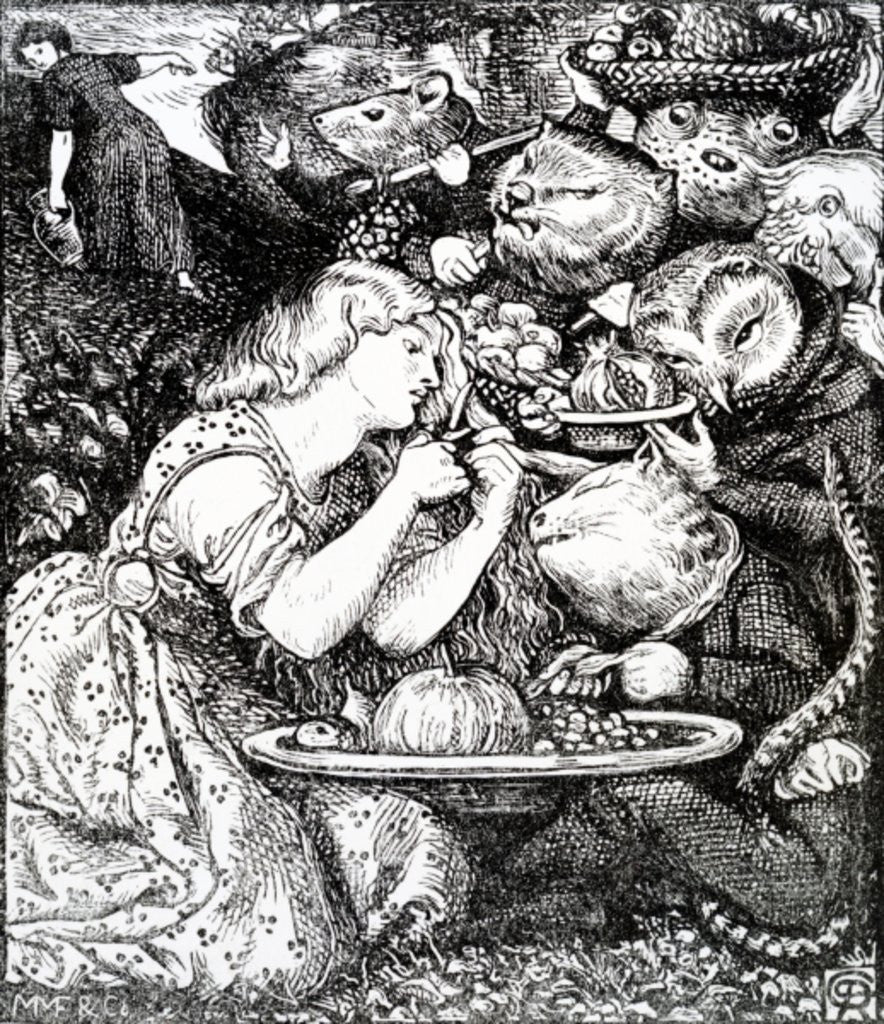 Detail of Frontispece to 'Goblin Market and other poems' by Christina Rossetti by Dante Gabriel Rossetti