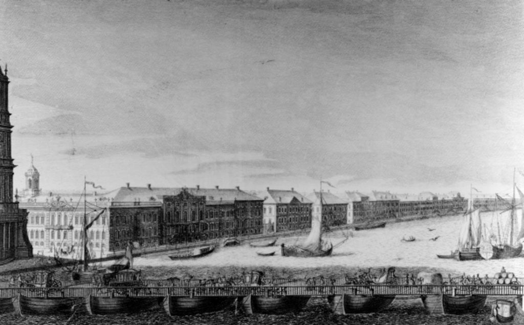 Detail of Saint Isaac's Pontoon Bridge across the River Neva by Russian School