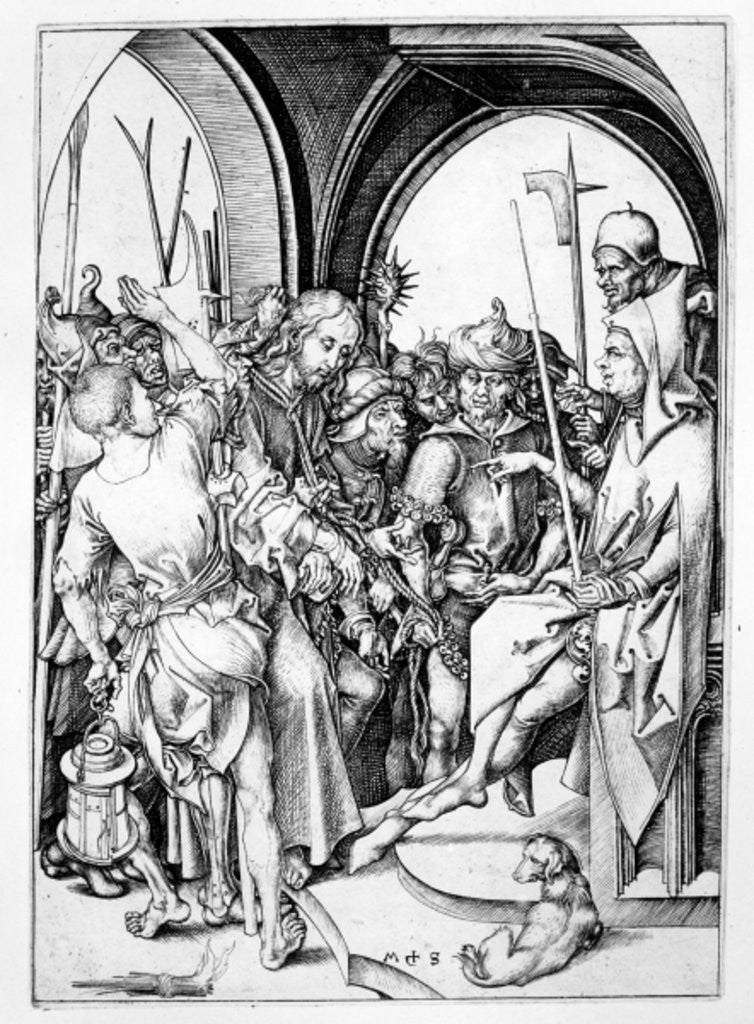Detail of Christ before Annas by Martin Schongauer