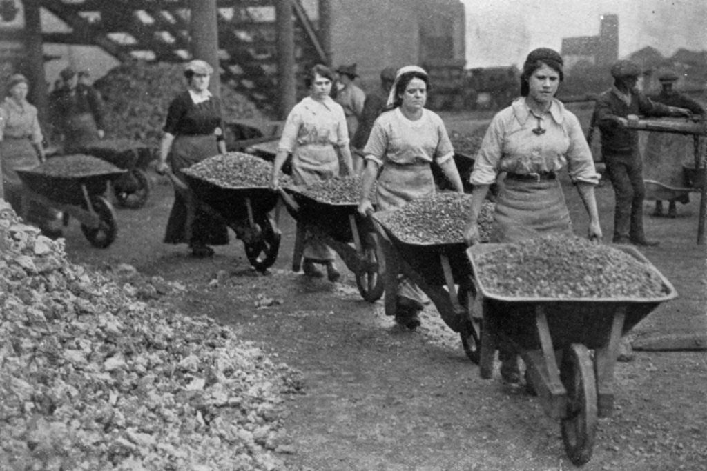 Detail of Women Barrowing Coke at a Gas Works, War Office photographs by English Photographer